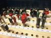 Mit dem RA32 (halber Abstand) und 6 / 8 mm-Nutfräsern wurden die Bohrungen gesetzt